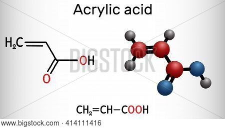 Acrylic Acid, Propenoic Acid Molecule. It Is Unsaturated Monocarboxylic Acid. Structural Chemical Fo