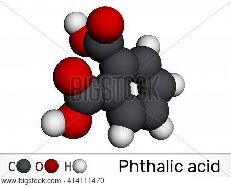 Phthalic Acid, Benzenedicarboxylic Acid Molecule. It Is Aromatic Dicarboxylic Acid. Molecular Model.