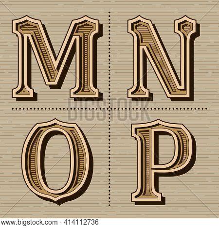 Western Alphabet Design Letters Vintage Vector (m, N, O, P)