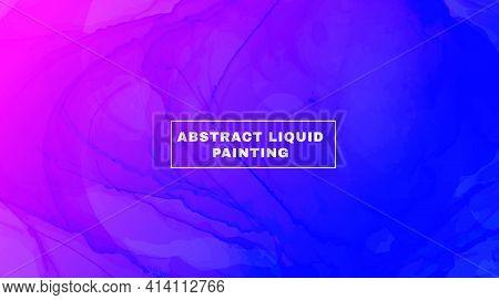 Abstract Fluid. Blue Pink Gradient Motion. Digital Liquid Design. Alcohol Inks Paint Template. Minim