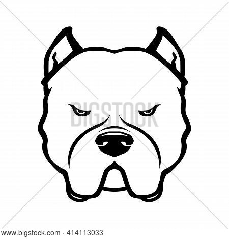 American Bully Dog Emblem. American Bully Dog's Head Isolated On White.