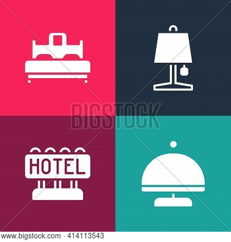 Set Pop Art Covered With Tray, Signboard Text Hotel, Table Lamp And Bedroom Icon. Vector