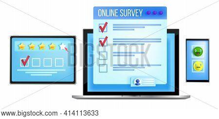 Online Survey, Vector Web Questionnaire Form Illustration, Laptop Screen, Tablet, Smartphone, Checkl