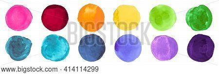 Brush Watercolor Circles. Set Of Abstract Art Stains. Drawn Spots Drawing. Colorful Watercolor Circl