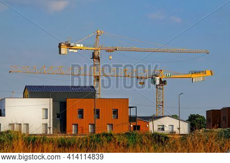 Bussy Saint Georges,  France - May 14, 2020 : A Construction Site With Two Tower Cranes In A City In