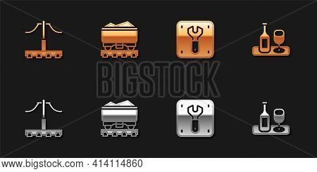 Set Railway, Coal Train Wagon, Repair Of Railway And Wine Bottle With Glass Icon. Vector