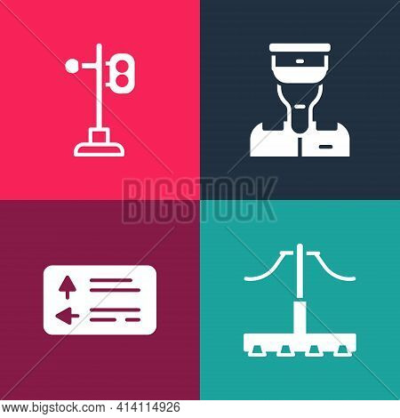 Set Pop Art Railway, Road Traffic Signpost, Train Conductor And Light Icon. Vector