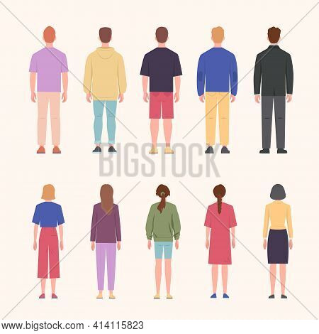 Standing Men And Women Back View Set. Young Girls And Guys In Fashionable Clothes Stand With Their B