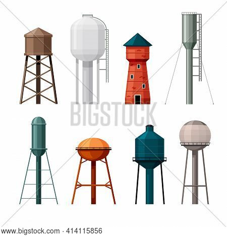 Water Towers Set. Industrial Tanks Made Red Brick And Steel For Storing Supplies Drinking Liquid Tal