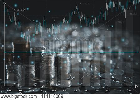 The World's Economic Investments And Stock Market Candles Represent Economic And Financial Growth Fo