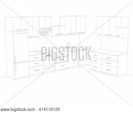 Contour Of The Kitchen With Cooking Utensils. Kitchen Interier. Vector Illustration