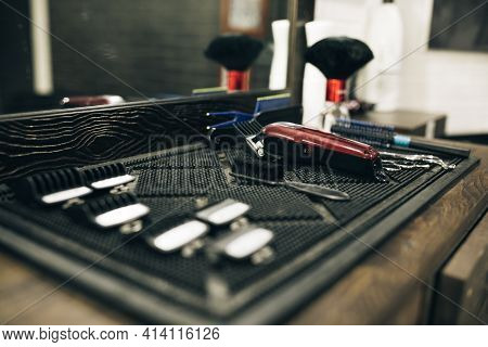 Professional Tools For Haircut In Barber Shop. Barber Shaving Accessories. Barber Shave Razor. The H