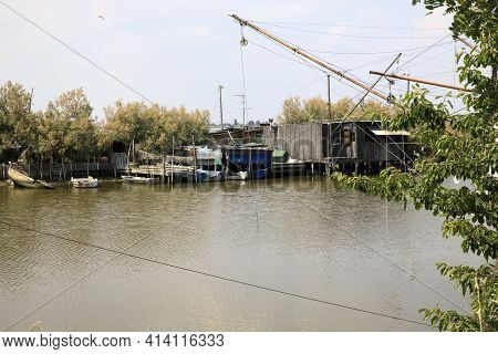 Po River (fe),  Italy - April 30, 2017: An Old Fisherman\\\'s House On Po River, Delta Regional Park