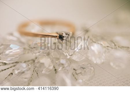 Diamond Ring With Clipping Trajectory. Wedding Fine Jewelry Diamond Engagement Ring.