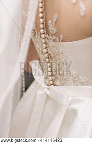 Luxurious Wedding Dress Nearby. Best Wedding Morning. Wedding Concept. Beautiful Lace Bridal Wedding