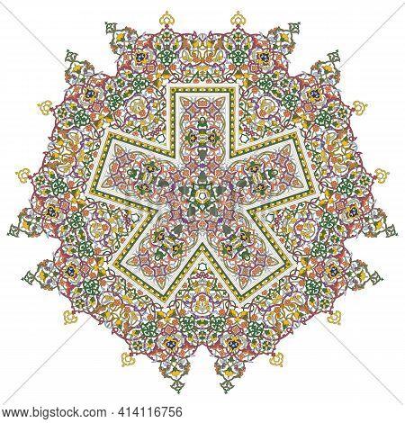 Pentagonal Mandala Five Pointed Design Element Eps