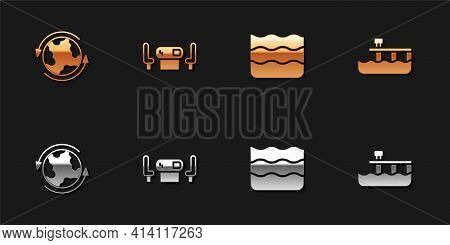 Set Worldwide, Poker Table, Wave And Beach Pier Dock Icon. Vector