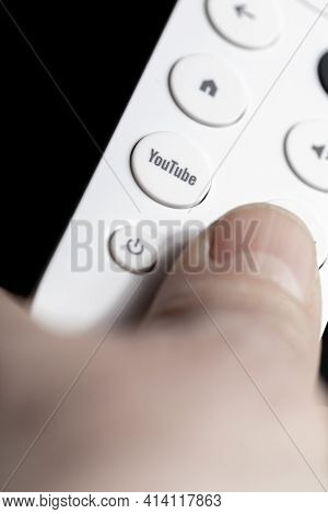 Spain - March 3, 2021. Close-up Of The Youtube Button On The Remote Control For Chromecast With Goog
