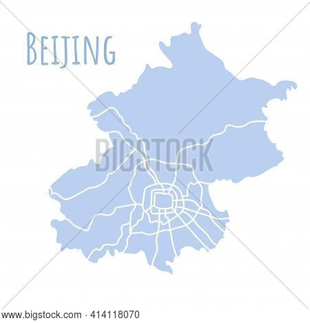 Beijing Map Silhouette Administrative Division, Vector Map Isolated On White Background. Boundary Ma