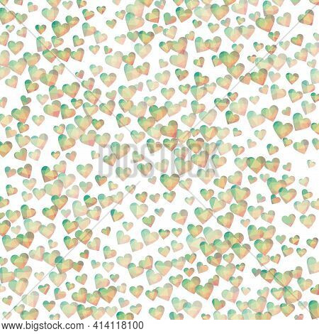 Low Poly Hearts Confetti. Teal Pink Polygonal Hearts In Diamond Style. Low Poly Hearts Background. C
