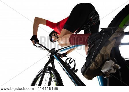 Close Up Professional Female Cyclist On Road Bike Isolated Over White Background