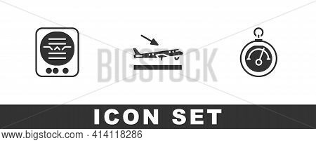 Set Attitude Indicator, Plane Landing And Barometer Icon. Vector