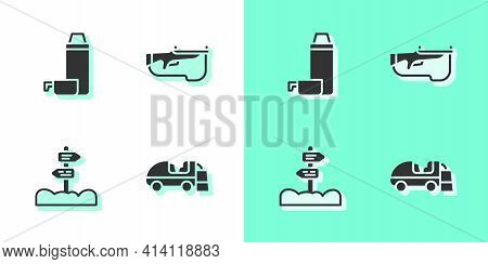 Set Ice Resurfacer, Thermos Container, Road Traffic Signpost And Biathlon Rifle Icon. Vector