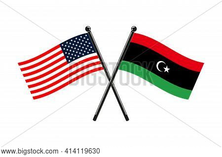 National Flags Of Libya And Usa Crossed On The Sticks In The Original Colours