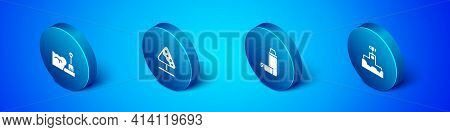 Set Isometric Shovel In Snowdrift, Thermos Container, Award Winner Podium And Road Sign Avalanches I