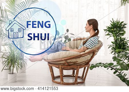 Young Woman In Room Decorated With Plants. Feng Shui Philosophy