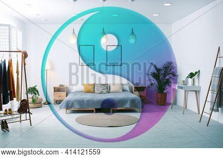 Stylish Bedroom Interior And Yin Yang Symbol. Feng Shui Philosophy