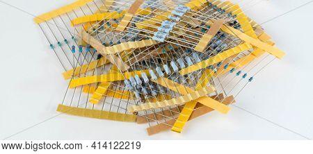 different radio electronic components. Electronics resistors