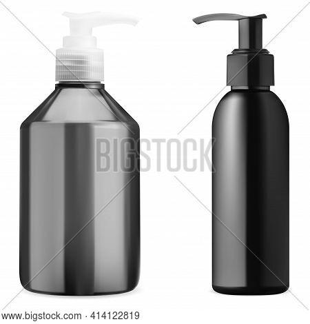 Cosmetic Bottle Mockup. Cleanser Gel Pump Bottle. Pump Dispenser Package, Black Container Set For Li