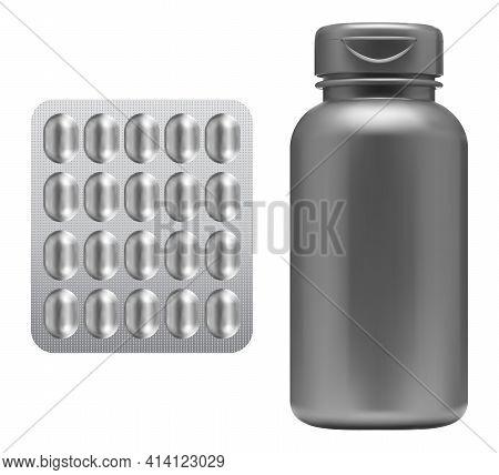 Pill Bottle, Medicine Capsule Blister Mockup. Supplement Jar Blank. Plastic Drug Container Isolated.