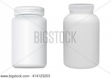 Pill Bottle Mockup. Medicine Drug Jar, White Plastic Supplement Capsule Bottle. Cylinder Packaging F
