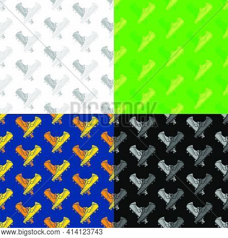 Set Of Seamless Patterns With Crossed Football Boot For Soccer, Spiked Sneaker. Ornament For Decorat
