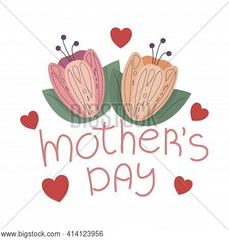 Mothers Day Greeting Card Text. Flower Card Template. Happy Womens Day Greeting Template. Vector Ill