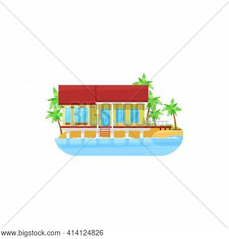 House At Water, Sea Bungalow Or Beach Cottage Building, Vector Villa. Residential Home, Summer Tropi
