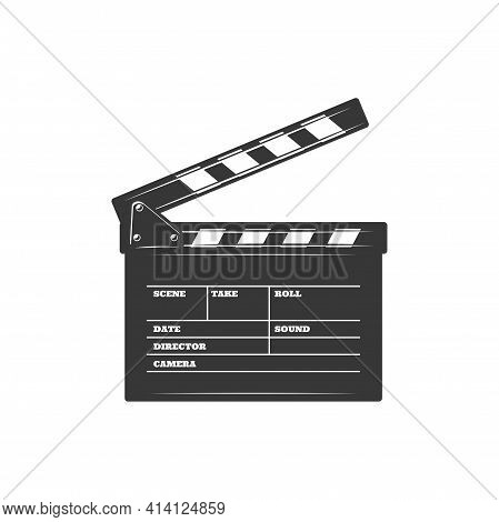 Cinema Clapboard, Scene And Action Board, Clapper Board Isolated Film Production Desk Monochrome Ico