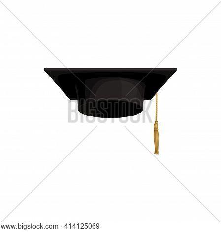 Cap Icon, University Hat Of Academic Student College, Vector Isolated. School Graduation And Educati