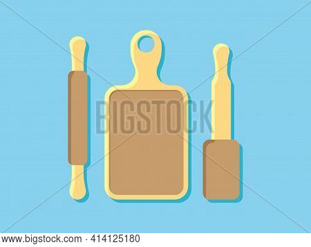 Kitchenware Chopping Board And Rolling Pin Theme Elements Vector, Eps