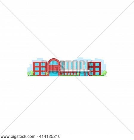 School Building, College Or University, Education Academy Campus House, Vector Architecture Icon. Sc