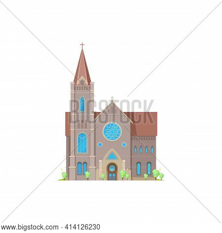 Church Or Cathedral, Medieval Gothic Chapel Or Christian Temple, Vector Flat Facade. Religion Buildi