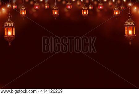 Islamic greeting  Eid Mubarak and Ramadan cards for Muslim Holidays.Eid-Al-Adha festival celebration.Arabic Ramadan Lantern .Decoration lamp