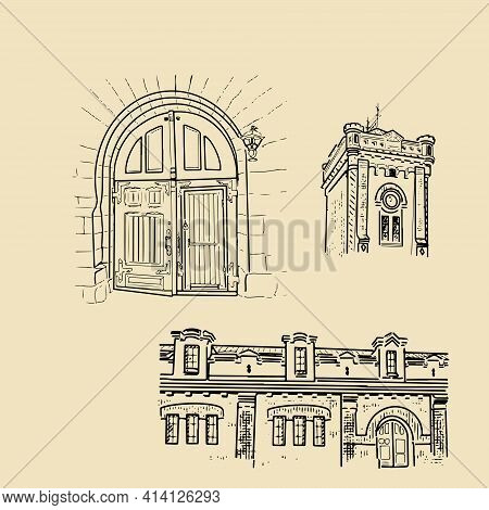 An Old Gate In A Stone Wall, A Retro Clock Tower, A Fragment Of An Old Castle. A Set Of Vintage Illu