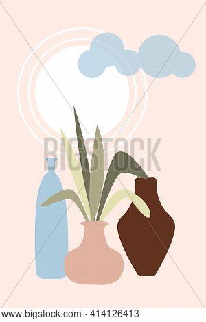 Abstract Vases Poster. Modern Minimalist Wallpaper, Rainbow Pattern Wall Decor. Vector Cartoon Flat