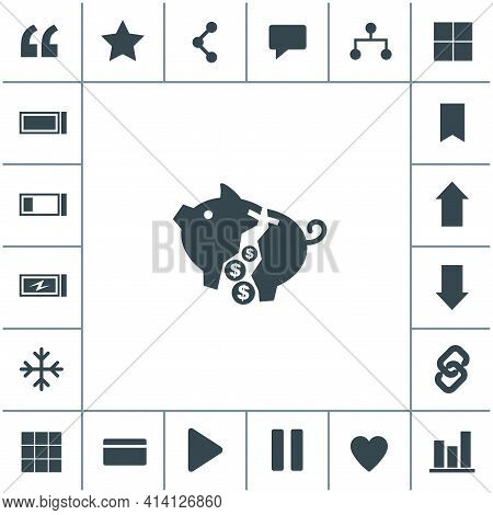 Moneybox Vector Icon. Simple Black Icon On White Background