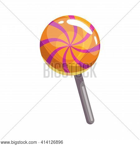 Candy Lollipop, Round Striped Sweets Isolated Realistic Icon. Vector Trick Or Treat Sweets, Candy-ca