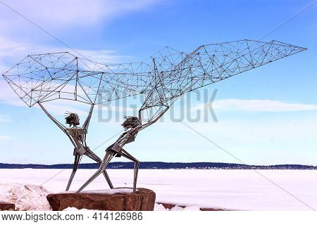 Petrozavodsk,pussia-marth 24th,2021: The Sculpture `fishermen`on The Onega Embankment Of The City Of