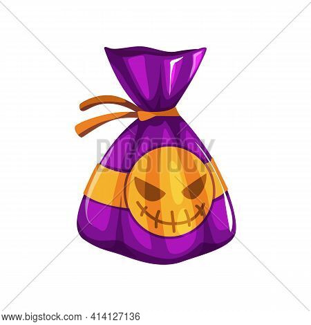 Sweet Candy In Halloween Wrap With Pumpkin Ghost, Trick Or Treat Symbol Isolated 3d Icon. Vector Swe